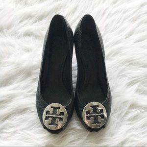 Tory Burch Black Peep Toe Wedges (100% Authentic)